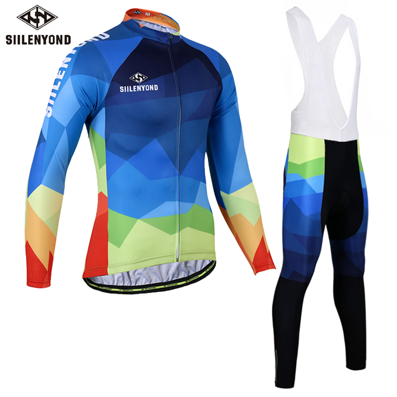 SIILENYOND New Men Cycling Jersey Sets Breathable Long Sleeve Bike Bib Cycling Clothing MTB Bicycle Wear Bicycle Clothing