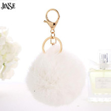New White Trinket Keychain Pompons Keychains Fur Keychain Fluffy Key Chains For Cars Keyrings Trinkets Pom Pom Keychain pom pom keychain with bell