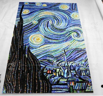 Van Gogh starry sky oil patterns use ice jade glass mosaic tiles to be cut art murals living room wall decoration