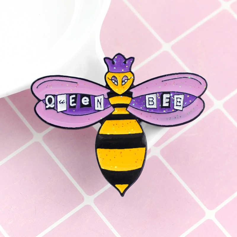 ... Shiny Bee Brooch Sparkling Purple Crown Queen Bee Cartoon Enamel Pin  Backpack Hat Badge Accessories Girl ... 8275df4691c7