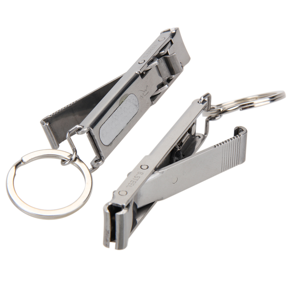Portable Stainless Steel EDC Ultra-thin Foldable Hand Toe Nail Clippers Cutter Keychain for Outddor Camping Hiking Travel Tool