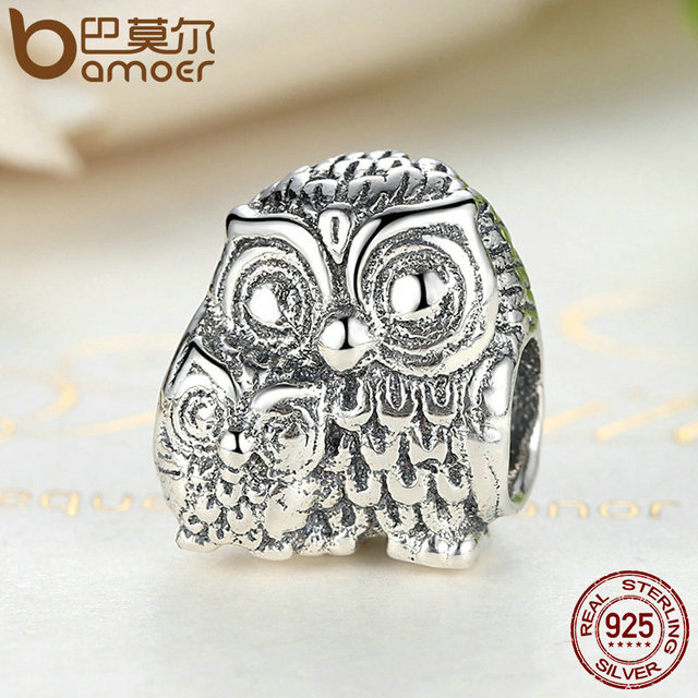 Sterling Silver Charming Owls Animal Screw Charm