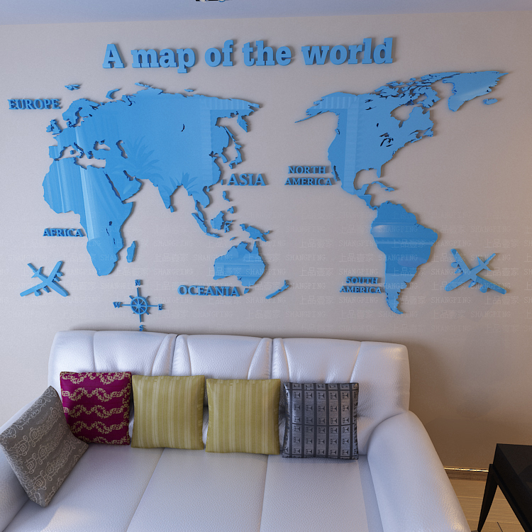 Free shipping Map of the world 3d crystal acrylic three-dimensional wall stickers TV wall office sofa background wall decoration