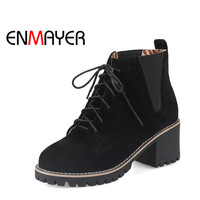 ENMAYER Nubuck Flock Black Yellow Green Solid Women Boots Square Heel Ankle Autumn Winter Lace Up