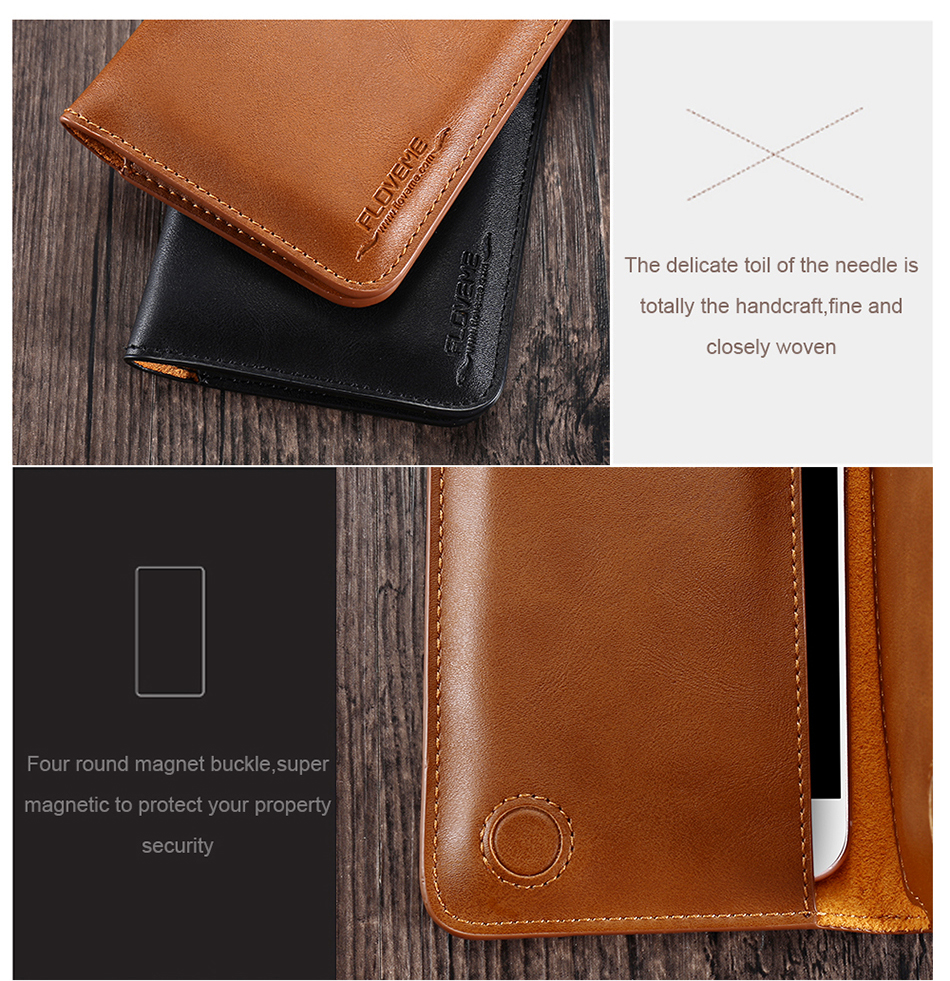 FLOVEME Genuine Leather Wallet Case For iPhone 6 6S 7 Plus Cover Multi-function Vintage Luxury Phone Pouch For Samsung S6 S7 (16)