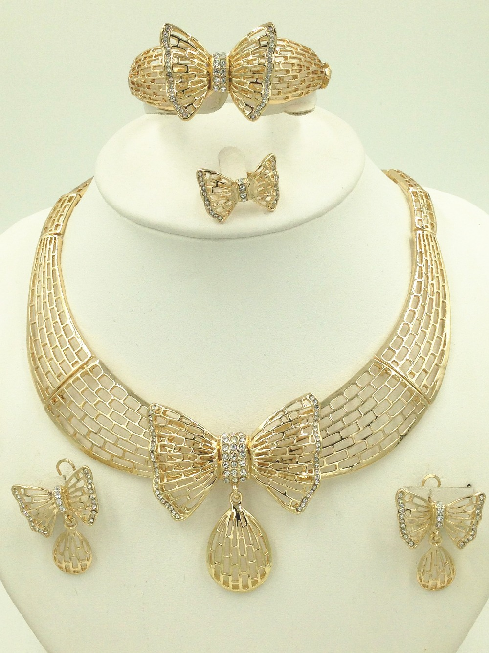 2016 African pearl jewelry fashion Bridal Jewelry Sets Dubai gold