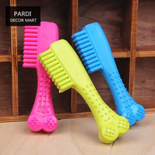 TPR eco-friendly pet toy Comb shape rubber toy bite molar relax pet toy molar toy bite resistance 1pc/lot