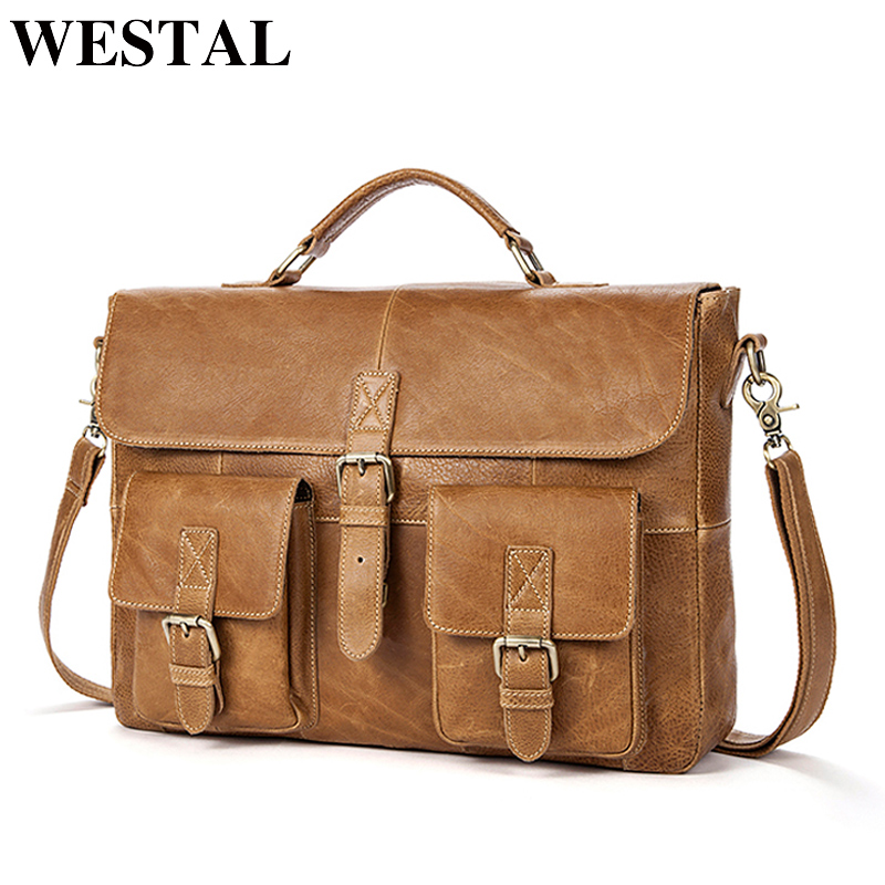 WESTAL Business Men Briefcases Genuine Leather Handbags Messenger Bag Men  Leather Laptop Bag Male Briefcases office bags for man 83d5bb1b96