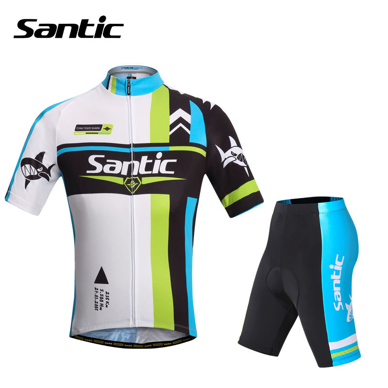 SANTIC Outdoor Sportswear Bike Bicycle Cycling Cycle Suits Short Sleeve Jersey Jacket & Pad Shorts Equipments-Shark 1/2 S-XXXL santic bicycle bike suits sets short sleeves cycling jersey with 4d padded shorts outdoor sports clothing professional men s