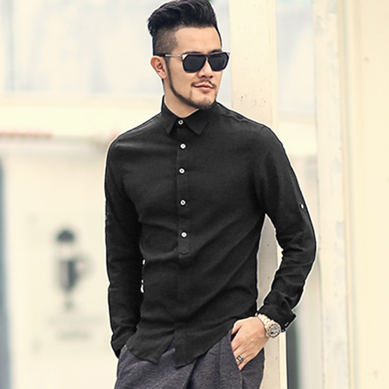 ربيع الخريف القطن قمصان عالية الجودة عارضة قميص يتأهل قمصان الاجتماعية الصلبة قميص الرجال الكتان طويلة الأكمام اللباس قميص s242