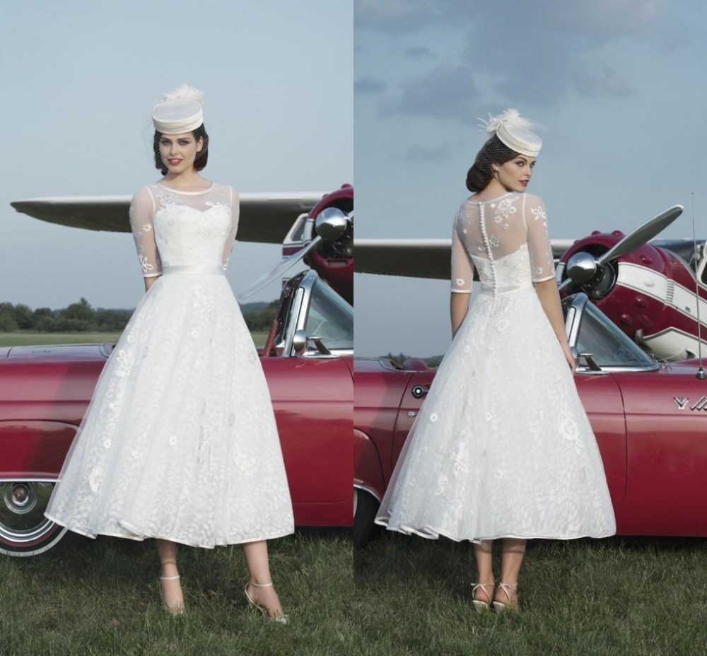 c3d0fe7e01 Short Bride Dress Little white Tea Length A Line Wedding Dresses Tulle  Applique Jewel Half Sleeves Covered Button Wedding Gown