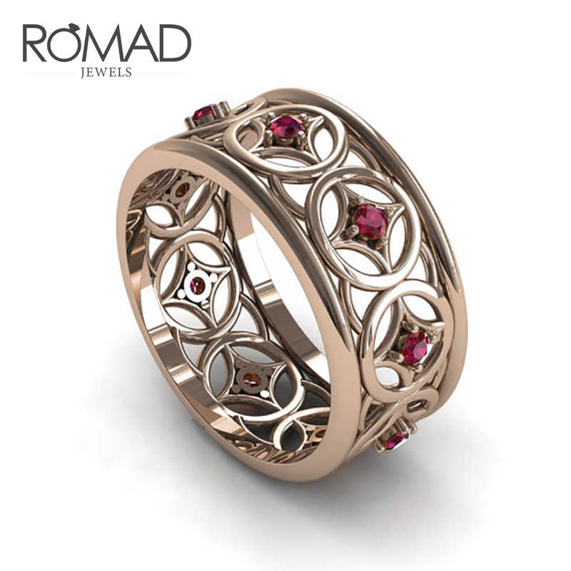 ROMAD 2019 New Vintage Female Round Hollow Ring Red Zircon Jewelry Retro Style Wedding Rings For Women Simulated Gemstone R5