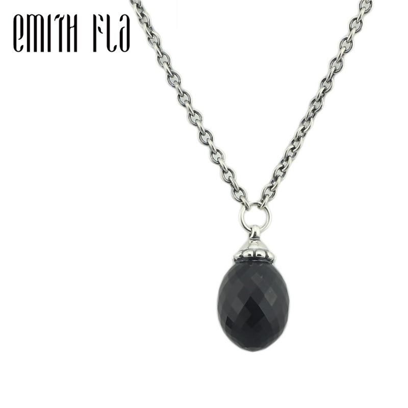 Authentic 925 Sterling Silver Fancy Pendant Necklace With Black Onyx Chain Dangle Necklace Pendants for Women Fashion Jewelry
