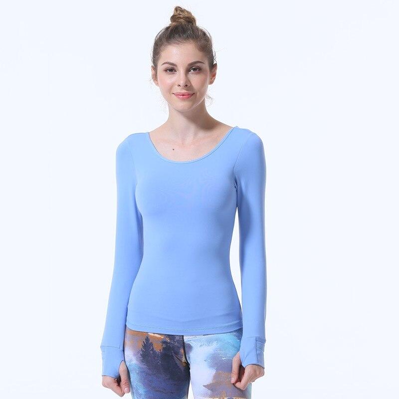 Купить с кэшбэком Women sport  T-shirt Yoga Top Professional Sexy Shirts Fitness Crop Long Sleeve Solid Running sports bra camiseta mujer sky