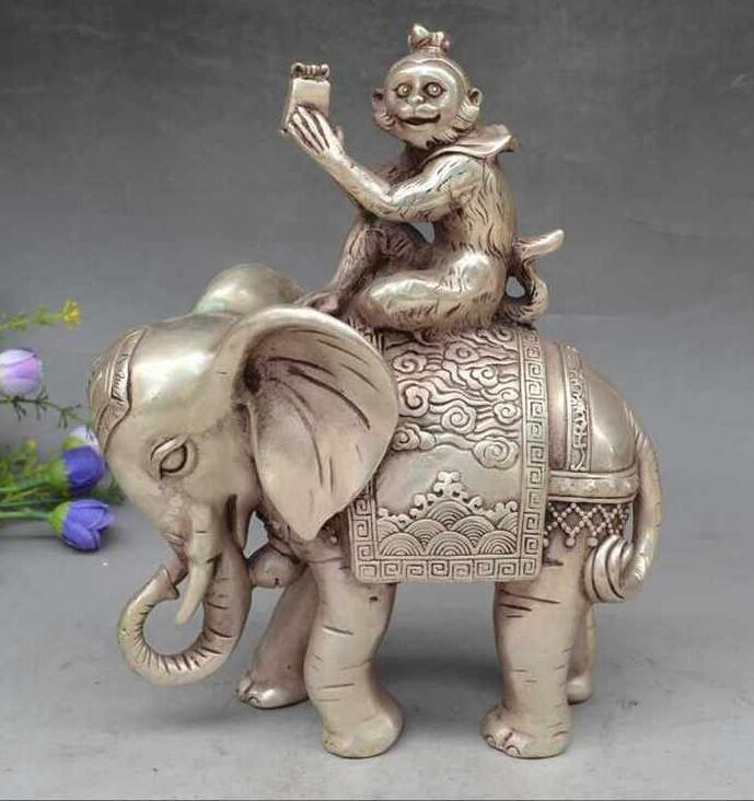 Collectible Decorate Old Tibet Silver Monkey Hold Seal Officer Elephant StatueCollectible Decorate Old Tibet Silver Monkey Hold Seal Officer Elephant Statue
