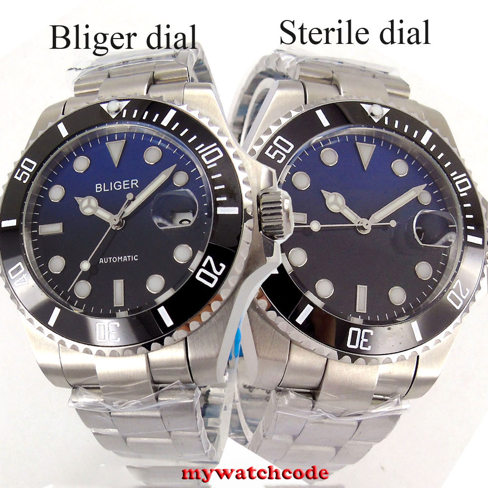 43mm Bliger blue sterile black dial sapphire crystal date automatic movement mens watch