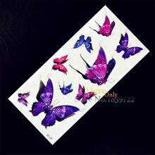 1PC Rose Purple Butterfly 3D Waterproof Temporary Tattoo Sticker Body Art H3D-27 Rose Purple For Kids Women Children Papillon