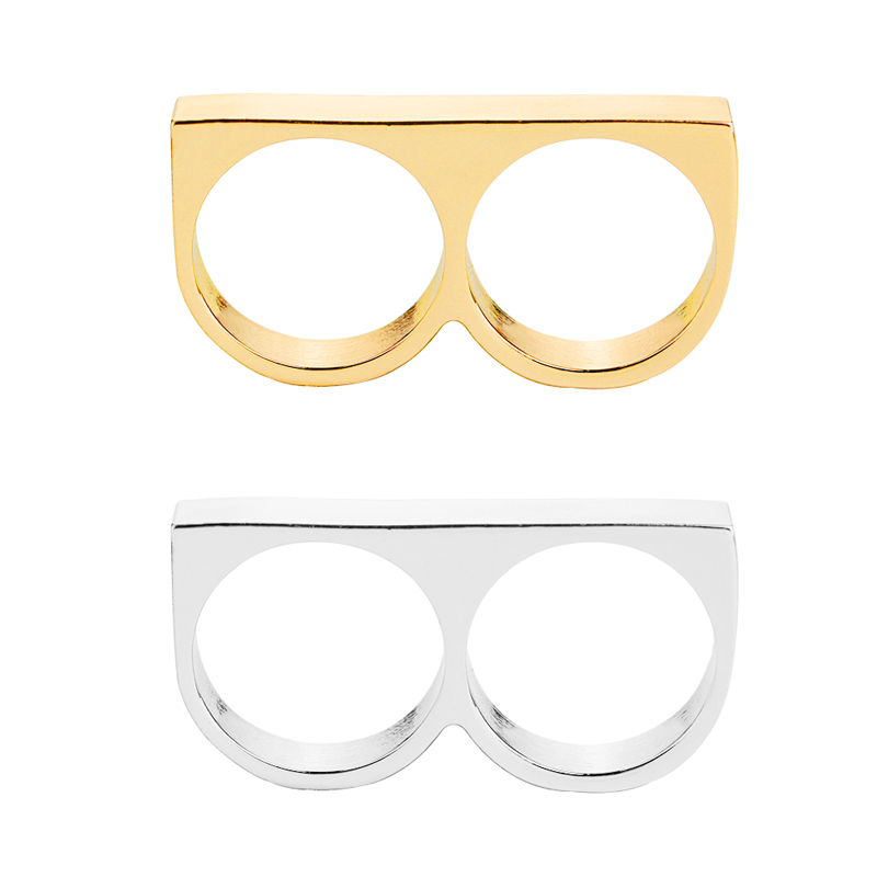 two finger rings man metal hard ring for party 2 fingers Ring Rebellious Ring revolt personality Jewelry FZL Non-conformity boy