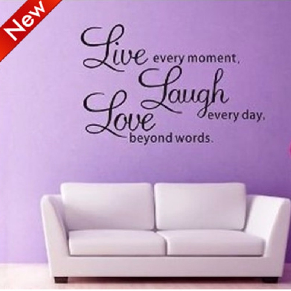 Wall Art Sayings hot selling live laugh love wall decals quotes paper butterfly