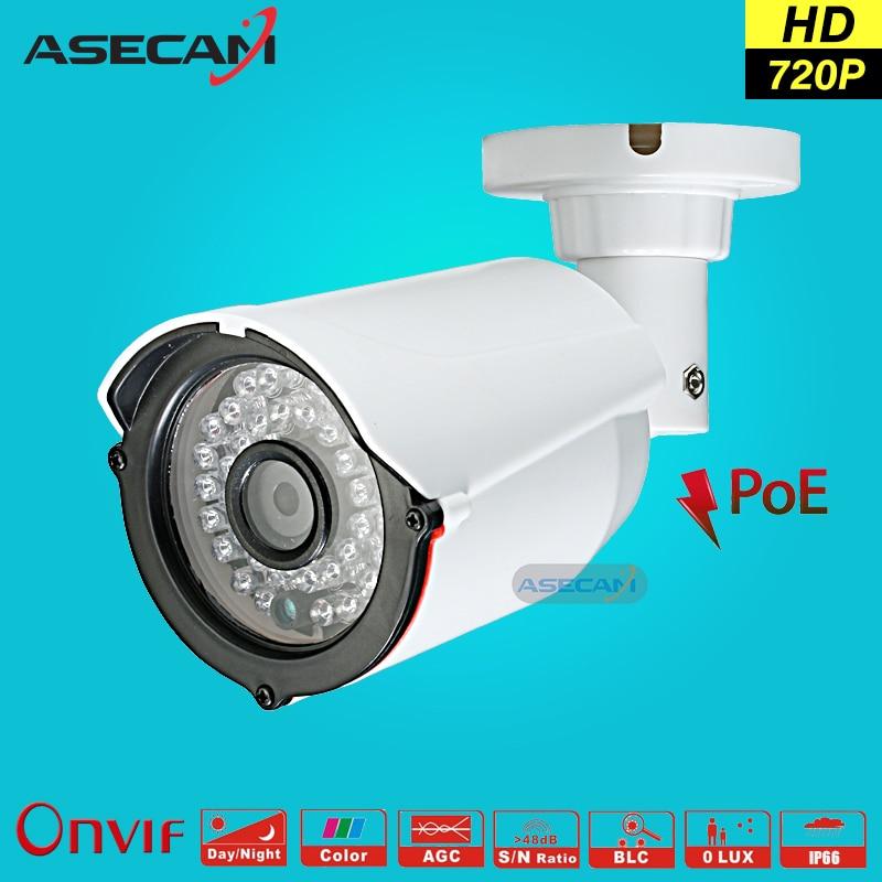 HD 720P IP Camera Onvif 48V POE White Bullet WebCam CCTV Infrared Night Vision Security Network