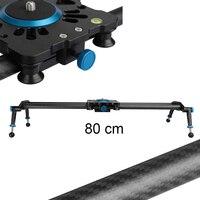 Taşınabilir 80 cm Karbon Fiber Hareket Slider Kayar Raylı parça Dolly Sabitleyici Canon Nikon Sony DSLR Kamera Kamera için Rulman