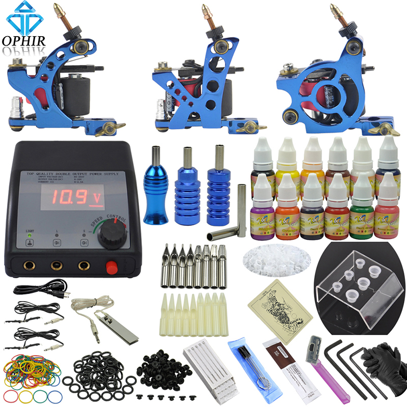 OPHIR Complete Tattoo Kit 3 Tattoo Machine & 12 Color Tattoo Inks & 50pcs Needle Nozzle Crip Tips Set for Body Tattoo Art _TA082 подводка limoni lacquer eyeliner 01