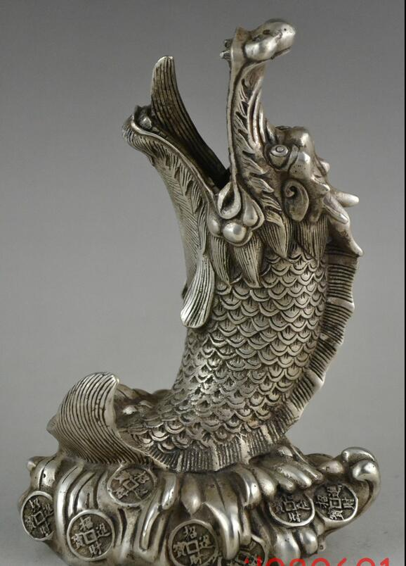 collectable chinese Old Tibet Bronze fish statue
