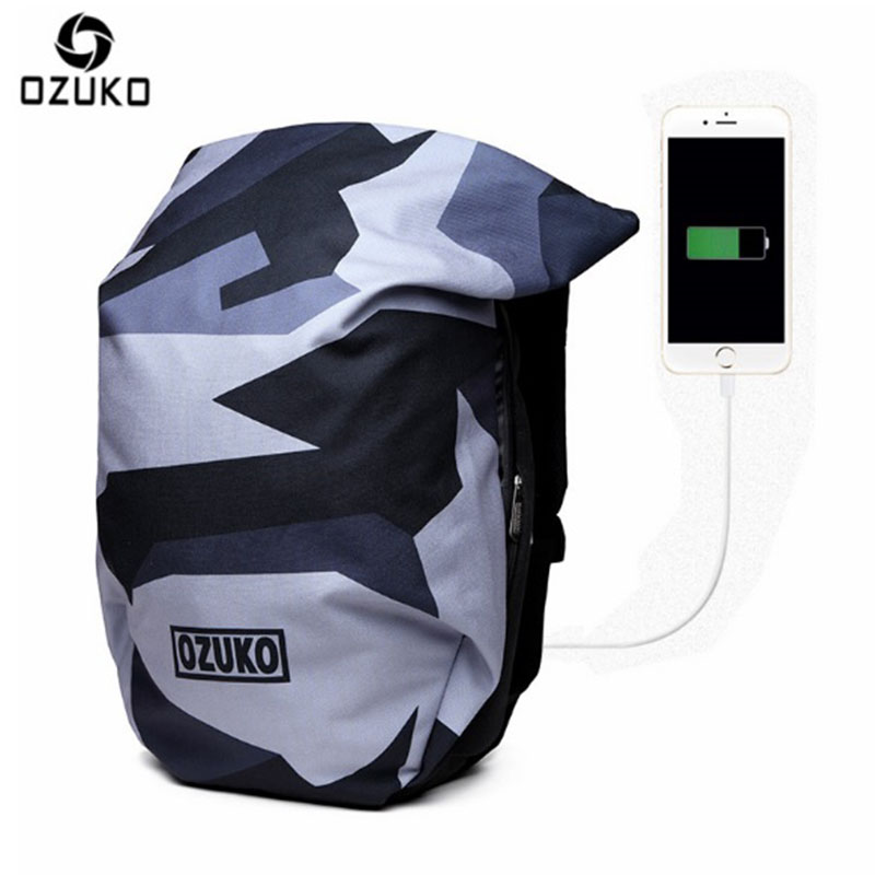 OZUKO Backpack Men New Brand School Bags For Teenagers USB Charge 15.6 inch Notebook Computer Backpack Waterproof Travel Bags large 14 15 inch notebook backpack men s travel backpack waterproof nylon school bags for teenagers casual shoulder male bag