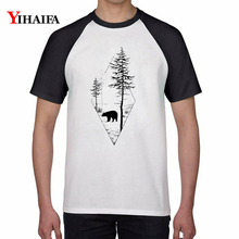 Men Women Harajuku T Shirts Bear Print Tree Forest Animal Graphic Tees Casual Cotton Tee Tops Unisex White Short Sleeve men forest print tee