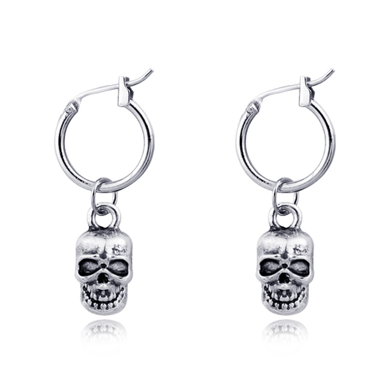 Pendant Hoop-Earrings Jewelry Round Silver 1pair Punk Women Skeleton for Retro Skull