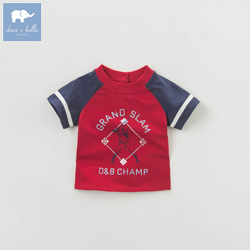 DB4755-2 dave bella summer baby boys red patchwork t-shirt boys toddle childs tees kids top db3814 dave bella autumn baby boys star printed t shirt kids navy tees bosy tops kids t shirts