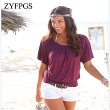 ZYFPGS 2019 T-Shirt Women's T Shirt  Color Cotton Blended Summer Top Sexy Elastic Belt Waist Lady Casual Befree Clothing L0512 джемпер befree befree mp002xw1hy6m
