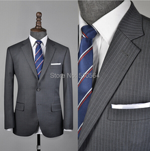 Free shipping Custom Made brand hight quality 160's worsted Classic Grey Pinstripe Suit business Suit (Jacket+ Pant)
