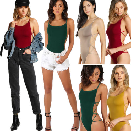 Hirigin Newest Womens Sleeveless Skinny Bodysuit Leotard Bodycon Bandage Sexy Jumpsuit Tops A Complete Range Of Specifications Women's Clothing
