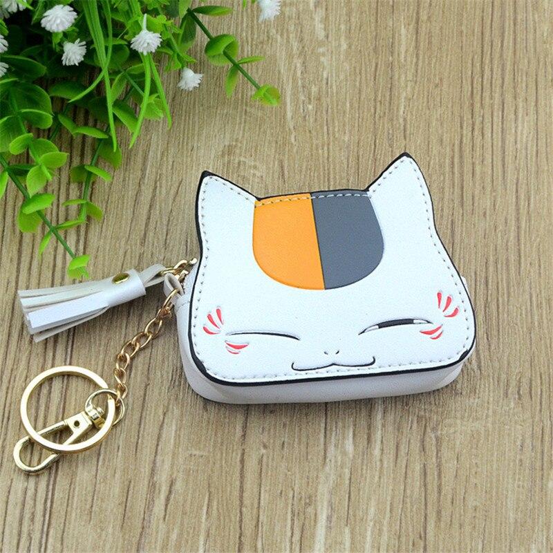 Boys Girls Cartoon Anime Natsume Yuujinchou Cat Designer Coin Purse PU Bag With Key Chain Gift