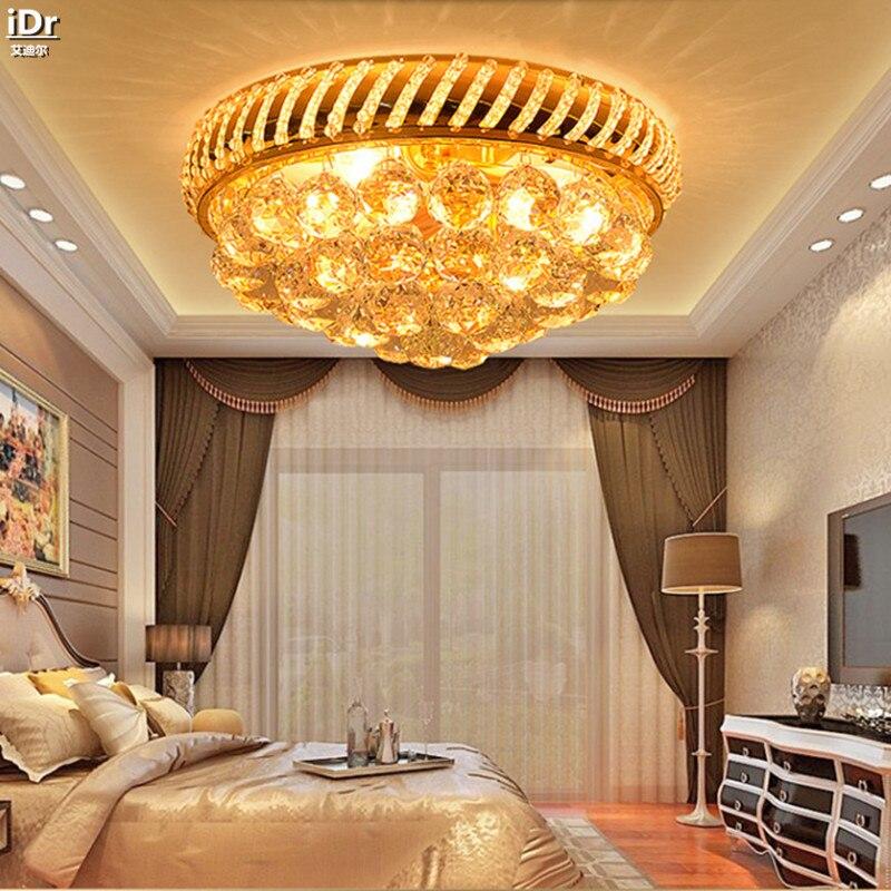 Traditional round gold crystal lamps bedroom living room lights LED restaurant lights aisle lights Ceiling Lights