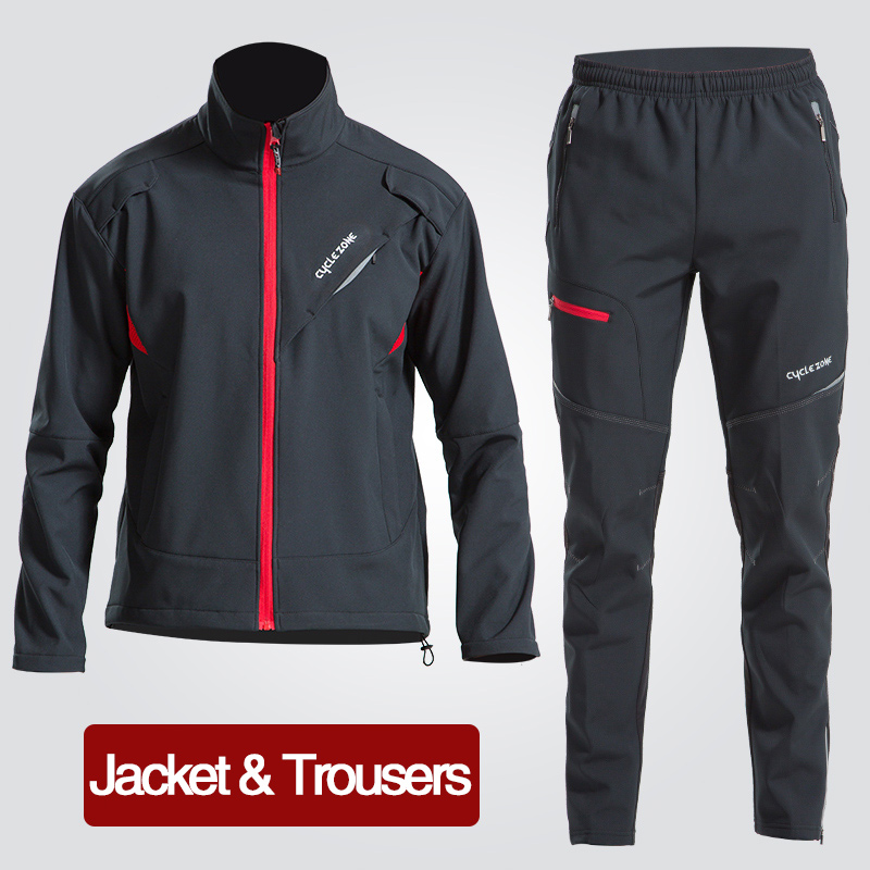 цена на Winter Fleece Cycling Sets Suits Bicycle Thermal Jacket Men's Bike Trousers ciclismo Winter Cycling Clothing Sportswear