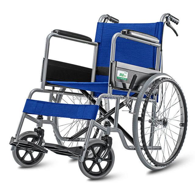 Cofoe azul aleación de aluminio silla de ruedas plegable ligera silla de ruedas autopropulsada azul con freno