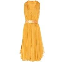 Sisjuly Women Dress Spring Summer V Neck Silk Sexy Party Dress Knee Length Elegant A Line