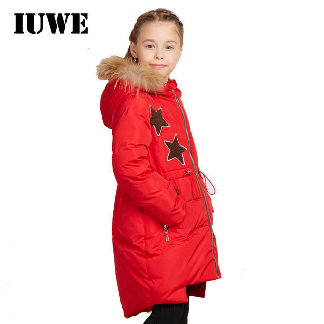 Обувь для девочек зимние Костюмы Мех с капюшоном длинный пуховик для Обувь для девочек 2017 на молнии звезда шаблон Новый Дизайн парка Детские зимние куртки