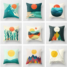 Sun and Mountain Cushion Cover for Sofa Office Car Peach Skin Pillowcases Home Living Room Bedroom Decorative Accessories 45x45 цены