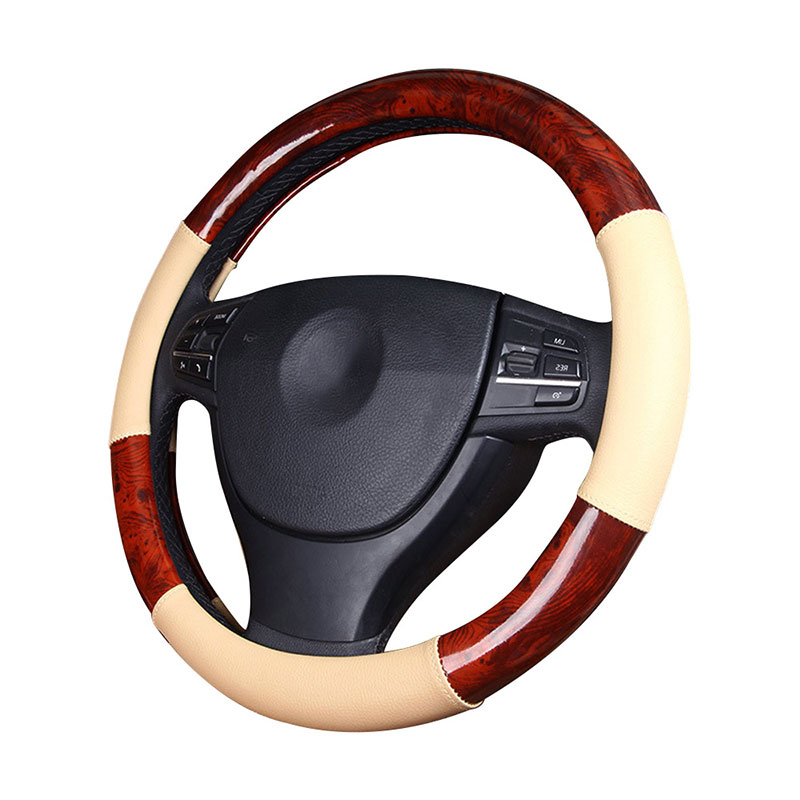 GLCC cover on the steering wheel Fiber Leather Steering Wheel Covers For Steering Wheel Black & Beige 38 cm Protector