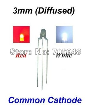 1000pcs/lot White / Red 3mm 3 Pins Diffused Common Cathode/Anode LED diode