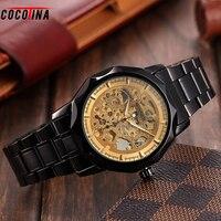 Cocotina moda hombre reloj de pulsera de lujo del marco del oro negro dial acero inoxidable reloj mecánico automático relogio masculino