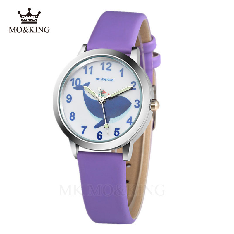 Baby Whale Children Watch Fashion Quartz Wristwatch Girls Boy Kids Sports Leather Night Light Cartoon Wataches Relogio Relojes