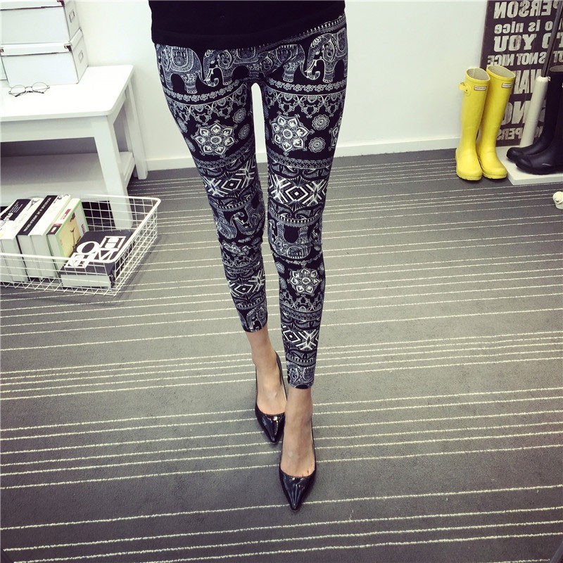 BIVIGAOS Spring Summer Womens Fashion Black Milk Thin Stretch leggings Colored Stars Graffiti Slim Skinny Leggings Pants Female 53
