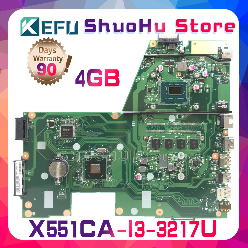 SHELI For R512CA ASUS F551C X551C X551CA X551CAP I3-3217U CPU 4GMemory laptop motherboard tested 100% work original mainboard sheli original x551ca motherboard for asus x551ca f551c f551ca laptop motherboard tested mainboard i3 cpu notebook