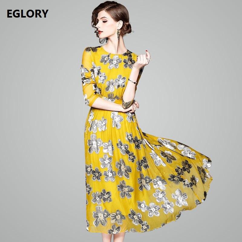 Womens New Dress 2018 Spring Summer Beautiful Flower Print Long Sleeve Vintage Luxury Silk Dress Yellow Green Vestido Maxi