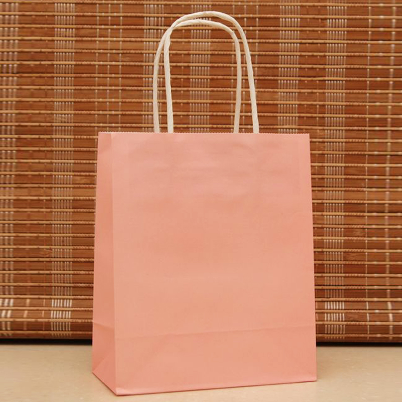 18x15x8cm 50pcs/lot Pink Paper Hand Carry Bags Recyclable Gift Jewelry Packaging Shopping Bags For Boutique Z186