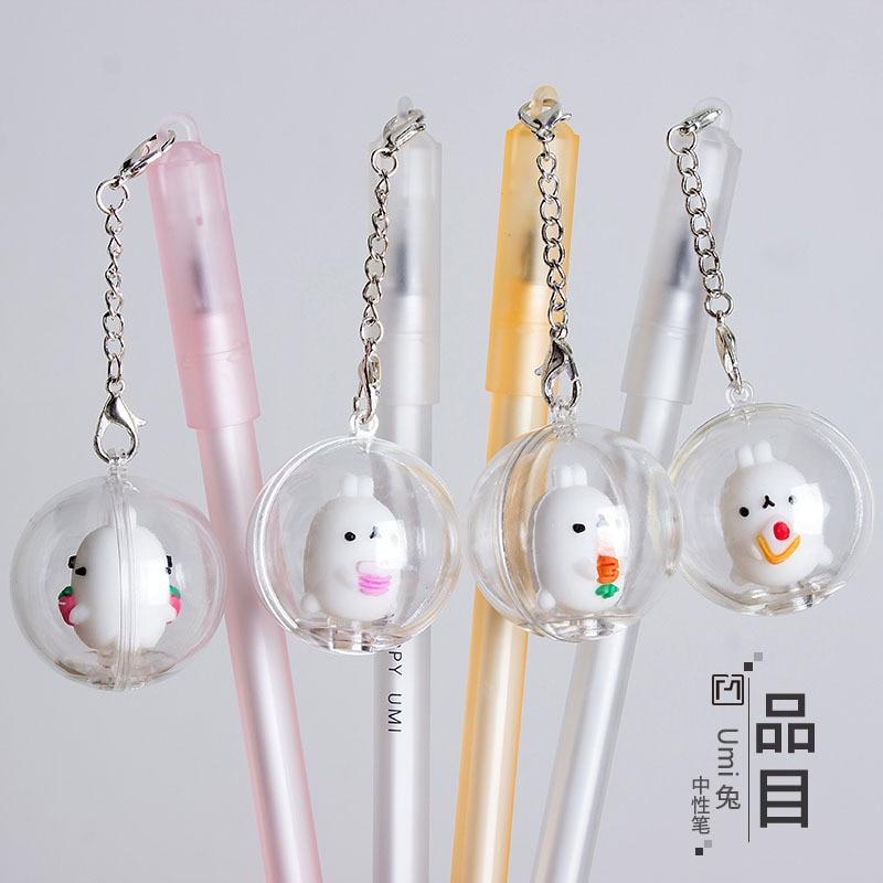 48 pcs Gel Pens Cartoon The rabbit pendant black colored kawaii gift gel ink pens for
